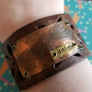 Jewelry - Dragonfly Leather cuff bracelet copper brown gold